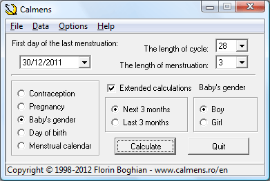 Click to view Calmens - Fertility Calendar 6.6 screenshot
